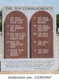 CUERO, TEXAS - JUNE 10 2018: the ten commandments carved in stone
