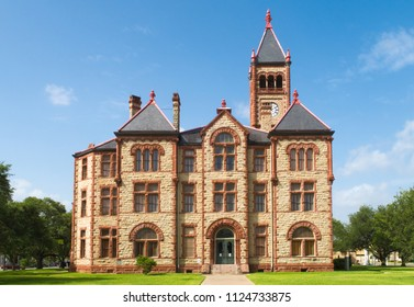 CUERO, TEXAS - JUNE 10 2018: the DeWitt County Courthouse in Cuero Texas was completed in 1896