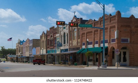 CUERO, TEXAS - JUNE 10 2018: a row of ornate buildings from 1900
