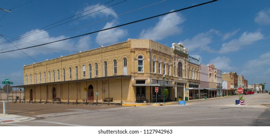 CUERO, TEXAS - JUNE 10 2018: a majestic row of building from 1900