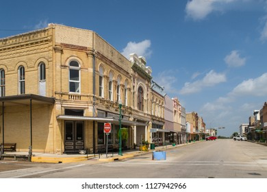CUERO, TEXAS - JUNE 10 2018: a vintage downtown scene unfortunately with many empty stores