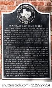 CUERO, TEXAS - JUNE 10 2018: the Texas Historical Commission plaque on St. Michael's Catholic Church