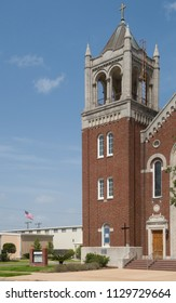 CUERO, TEXAS - JUNE 10 2018: one of the towers on St. Michael's Catholic Church
