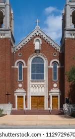 CUERO, TEXAS - JUNE 10 2018: St. Michael's Catholic Church front entrance detail