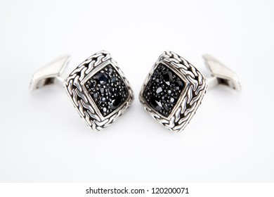 Cuff links with Black Sapphire on white