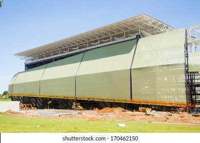 CUIABA, MT, BRAZIL - JANUARY 09: Arena Pantanal building stage for 2014 Brazil's world cup,  south side. January 09, 2014 in Cuiaba, MT, Brazil.
