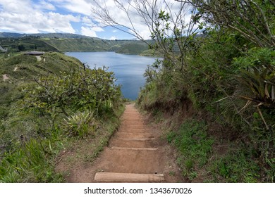 Cuicocha volcanic lake seen from hiking path