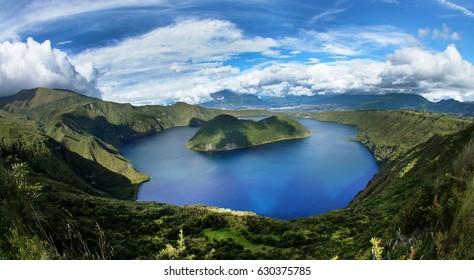 Cuicocha volcano lake (Guinea Pig Laguna) top view. Ecuador.