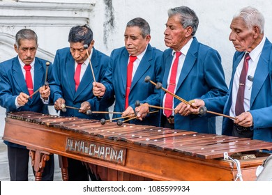 Cuidad Vieja, Guatemala - December 7, 2017: Local marimba band plays outside church celebrating Our Lady of the Immaculate Conception Day.