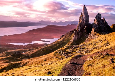The Cuillin (Scottish Gaelic: An Cuilthionn or An Cuiltheann) is a range of rocky mountains located on the Isle of Skye in Scotland. The main Cuillin ridge is also known as the Black Cuillin