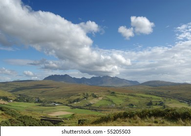 The Cuillins of Skye from a viewpoint near Carbostmore on the west coast