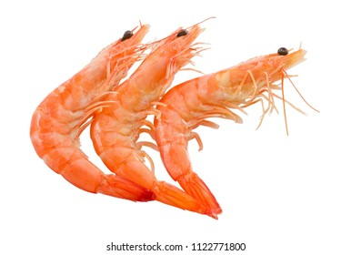 Cuisine and Food, Cooked Prawns or Tiger Shrimps Isolated on A White Background