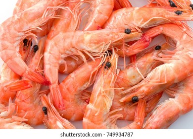 Cuisine and Food, Stack of Cooked Prawns or Tiger Shrimps on White Tray.