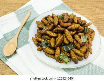Cuisine and Food, Thai Traditional Deep Fried Marinated Coconut Worms with Herbs on A White Dish. One of The Most Popular Street Food in Thailand.