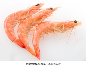Cuisine and Food, Top View of Cooked Prawns or Tiger Shrimps on White Background.