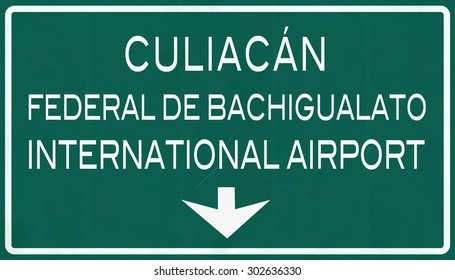 Culiacan Mexico International Airport Highway Sign 2D Illustration