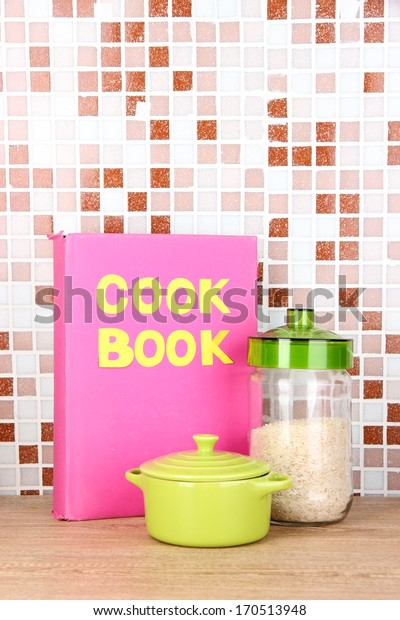 Culinary composition in kitchen on table on mosaic tiles background