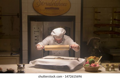 Culinary specialist give a master class on strudel, Strudel show in Vienna, Austria 03 november 2018
