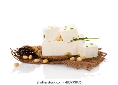 Culinary tofu eating. Tofu isolated on white background.