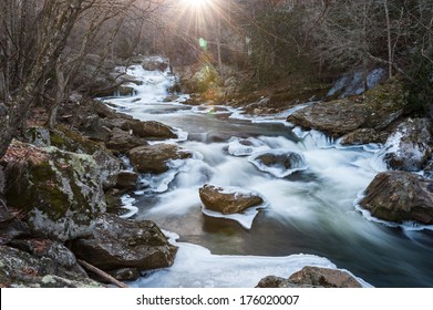 Cullasaja Gorge Winter Landscape Scenic along the Mountain Waters Scenic Byway in Highlands, Western North Carolina