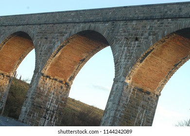 Cullen, Scotland - April 14th 2018: Cullen viaduct arches in the late afternoon light, Moray, Scotland.