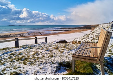 Cullenstown Beach in Wexford Ireland Covered in Snow.
