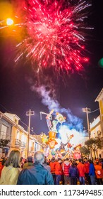 Cullera, Valencia / Spain - 02 17 2017: Colorful fireworks at the final celebration of the Falla Raval - winner in the competition during Las Fallas festival in Cullera, Valencia, Spain.