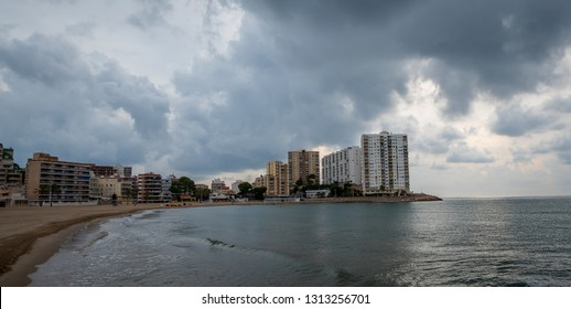 Cullera, Valencia / Spain - November 11, 2018: The popular Los Olivos beach by the Mediterranean sea. The beach is located in the seaside town of Cullera, close to the Punta Dels Pensaments