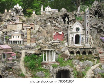 Cullman, AL / USA - March 30, 2016: Miniature reproductions of religious structures worldwide, created by a local monk, adorn Ave Maria Grotto in Cullman, Alabama.