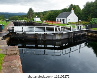 Cullochy Lock on the Caledonian Canal in Scotland