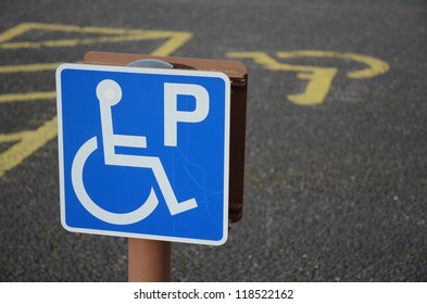 CULLODEN, SCOTLAND - NOVEMBER 3: a parking space for disabled drivers on November 3, 2012 in Culloden, Scotland. Legislation requires all car parks in Scotland to provide disabled only parking spaces.