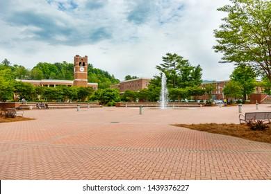 CULLOWEE, NC, USA - MAY 4: Central Plaza on May 4 2019 at Western Carolina University in Cullowhee, North Carolina.