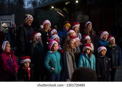 Culpeper, Virginia/USA-11/17/18: Carolers singing at the Christmas festival in Culpeper Virginia.