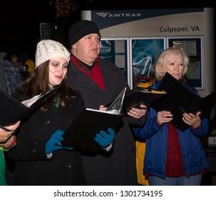 Culpeper, Virginia/USA-11/17/18: Carolers singing at the Culpeper Christmas lighting ceremony.
