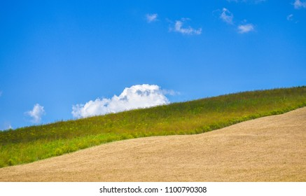 Cultivated farm land on a hill against blue sky with white puffy clouds.