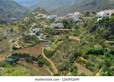 Cultivated terraces at the mountain village of Tejeda, Gran Canaria,water recovery