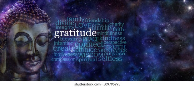 Cultivating Gratitude Meditation Banner - wide deep blue night sky background with stars and planets and a Buddha head on left next to a GRATITUDE word cloud with copy space