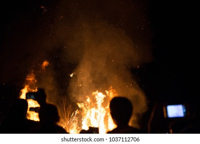 cultural bonfire, burning man, traditional carnival first winter day,