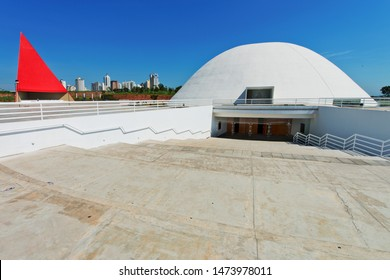 Cultural Center Oscar Niemeyer - Goiania - Goias State- Brazil-  08/03/2013 The design: a rectangular terrace with four spaces: the Music Palace, the Museum of of Contemporary Art, the Library and HRM