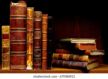 Cultural heritage. Library of old, antique books