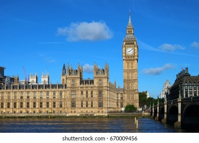 Cultural icon of UK - Big Ben and Palace of Westminster along River Thames, London, United Kingdom