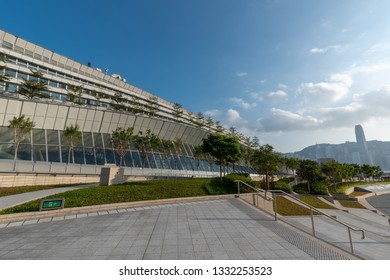 Cultural plaza above the West Kowloon Terminus of Guangzhou-Shenzhen-Hong Kong High Speed Rail with a view of Victoria Harbour
