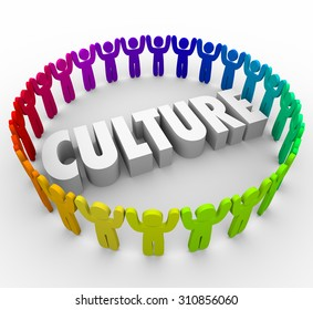 Culture 3d word surrounded by people sharing a common language, values, language and belief system as a company, organization, association, society or religion