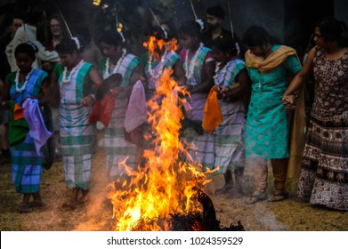 "Culture calling. This photograh was captured when the ritual of ""nerapora"" also know as the ""holika dahan"" was performed on the eve of ""holi"" festival. The photograph was taken in Purulia, India."