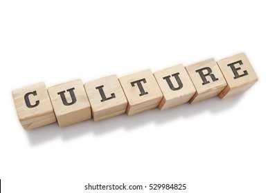 CULTURE word made with building blocks isolated on white