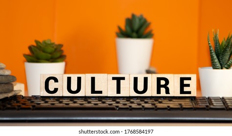 CULTURE word written on wood block, concept