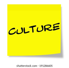 Culture written on a paper yellow Sticky Note making a great concept.