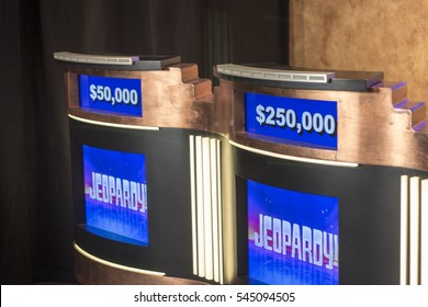 Culver City, CA - December 28: Jeopardy podiums on December 28, 2015 in Culver City. Jeopardy is a popular game show in America.