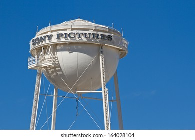 CULVER CITY, CA - NOVEMBER 4: The water tower located on the backlot at Sony Pictures on November, 4 2012 in Culver City, California. The tank is 160 feet tall, and can hold 16,000 gallons of water.