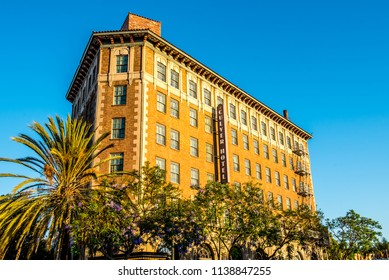 Culver City, California / USA - July 14 2018: The Culver Hotel located in downtown Culver City. The hotel is a is a national historic landmark built by Harry Culver and opened on September 4, 1924.